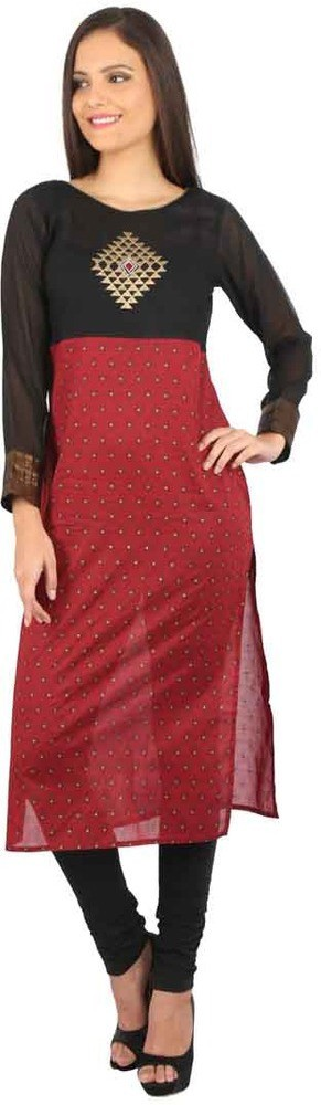 Peppertree Printed Womens Straight Kurta(Maroon)