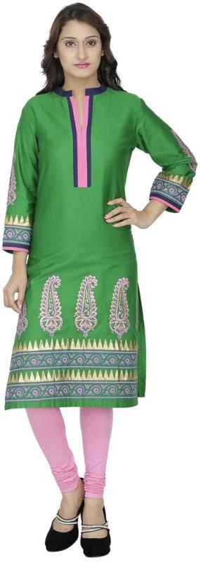 Tanvi Solid Women's Straight Kurta(Green)