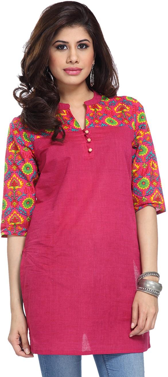 Enah Printed Womens A-line Kurta(Pink)