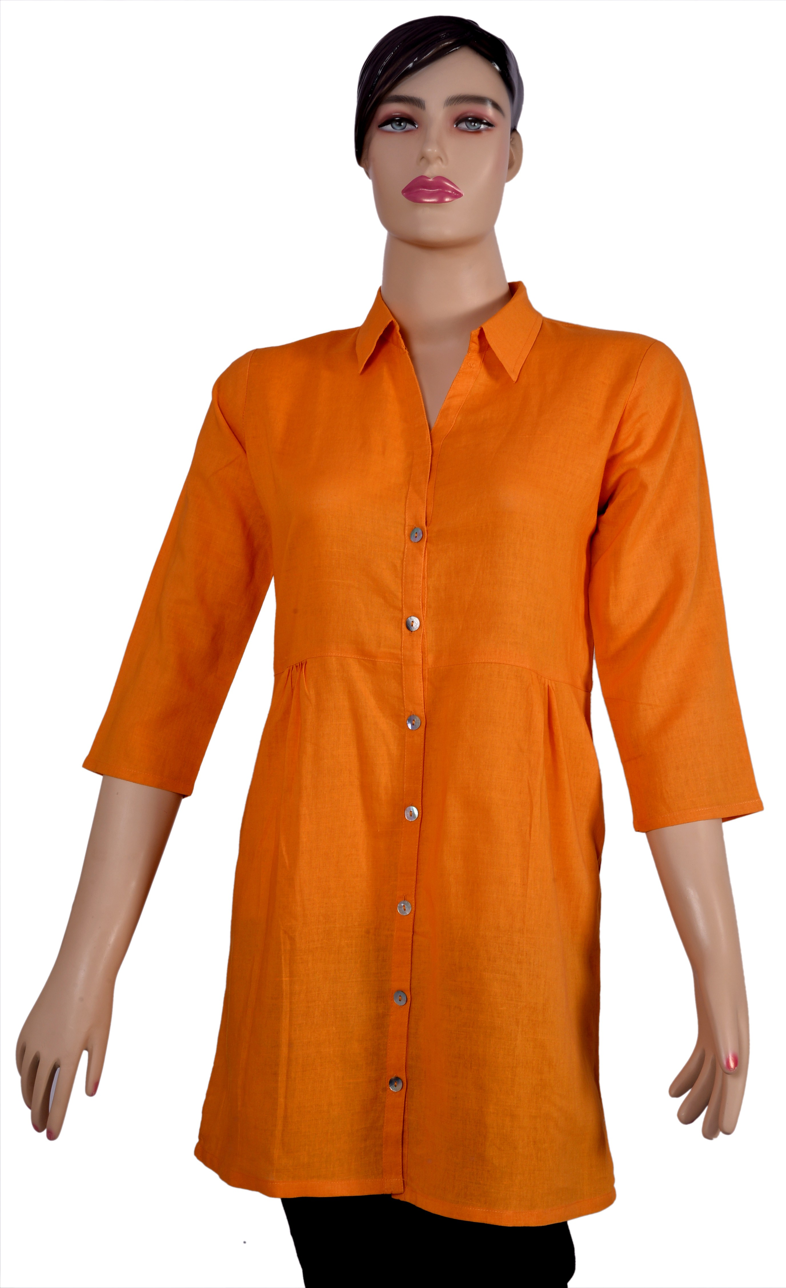 Kumi Solid Womens Straight Kurta(Orange)