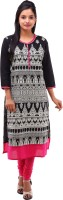 Kyaara Printed Women's Straight Kurta(Black, Pink)