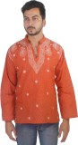 Govind Chikan Embroidered Men's Straight...