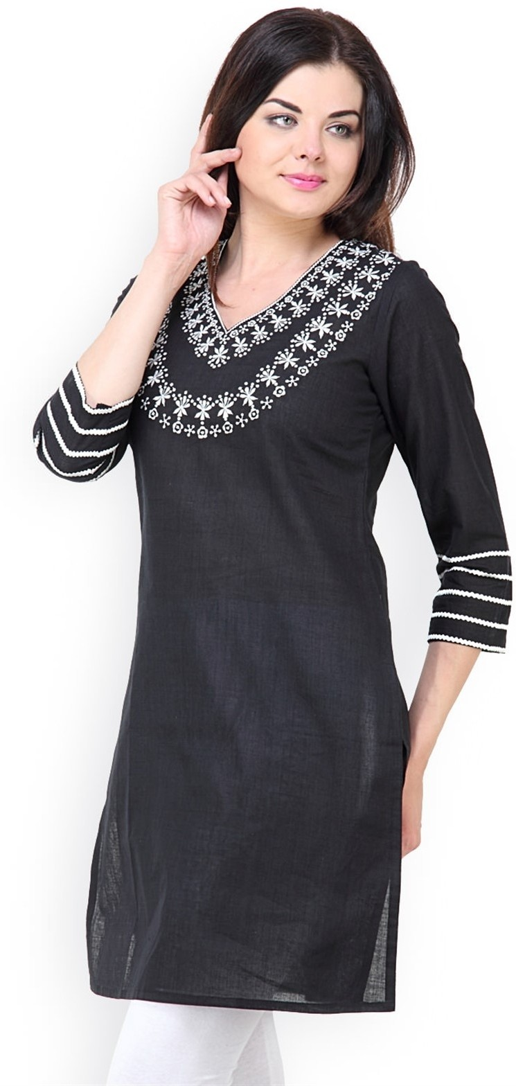 Vedanta Self Design Womens Straight Kurta(Black)