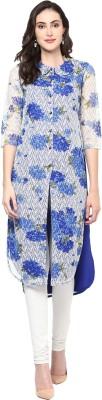 Libas Floral Print Women's A-line Kurta(White, Blue) at flipkart