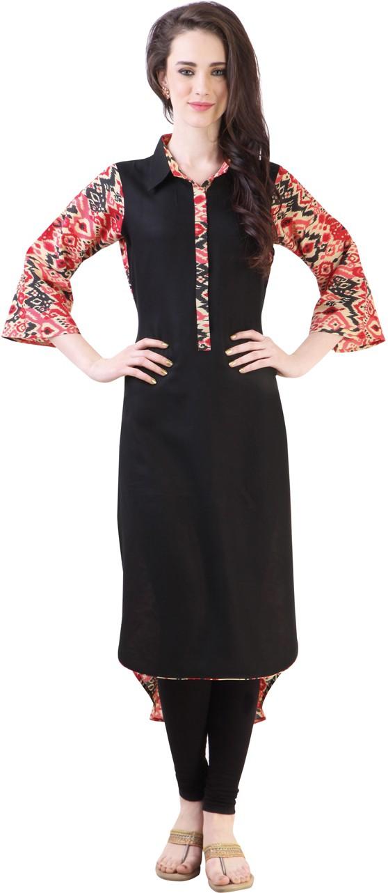 Libas Floral Print Women's A-line Kurta(Black, Red)