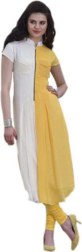 Jaune Solid Womens Straight Kurta(Yellow)