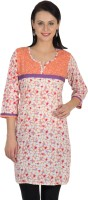 Sohniye Floral Print Women's Straight Kurta(Orange, Purple)