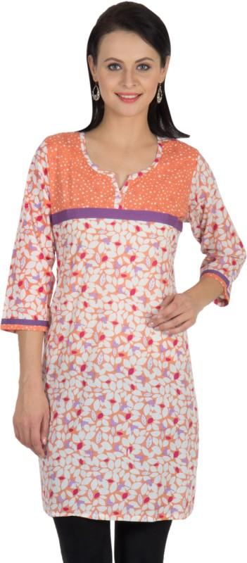 Sohniye Floral Print Women's Straight Kurta(Orange, Purple)