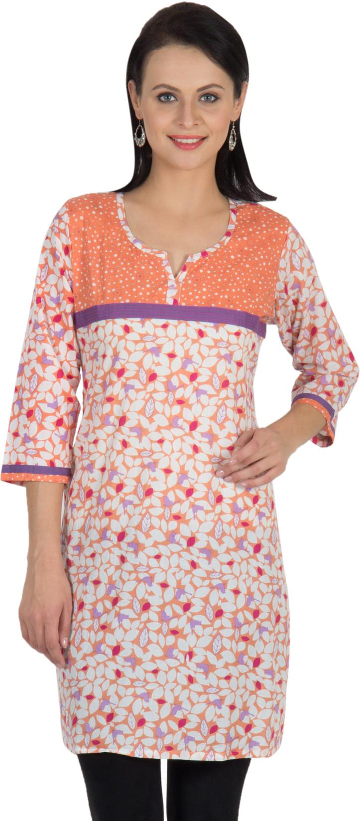 Sohniye Floral Print Womens Straight Kurta(Orange, Purple)