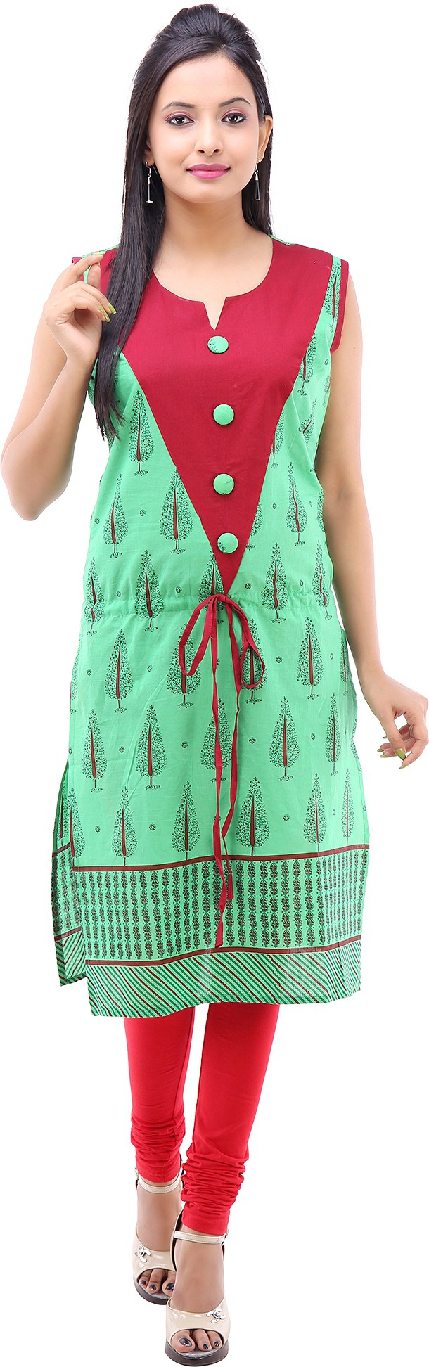 Kyaara Printed Womens Straight Kurta(Green)