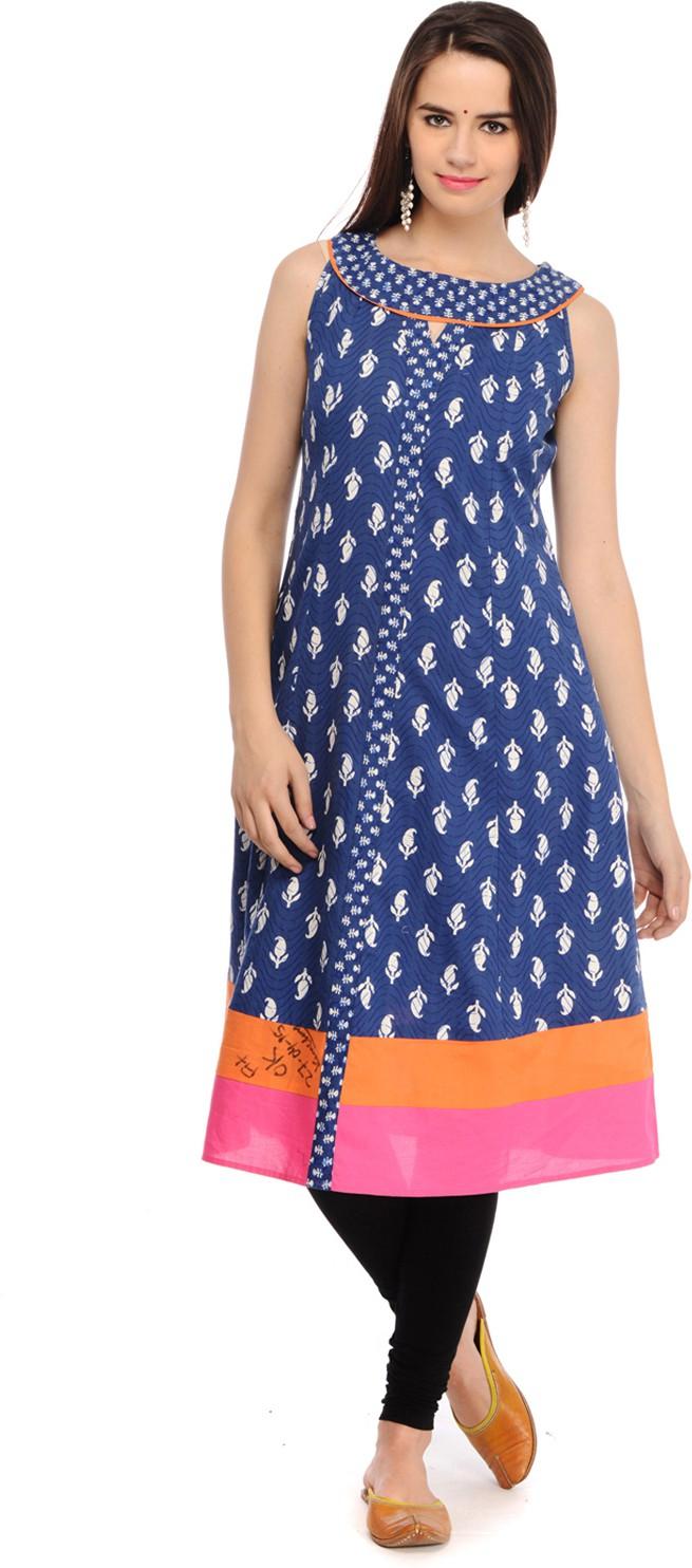 Aana Printed Womens Anarkali Kurta(Blue)