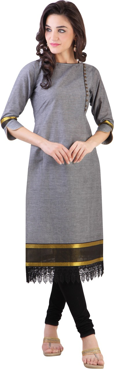 Libas Solid Womens Straight Kurta(Grey)