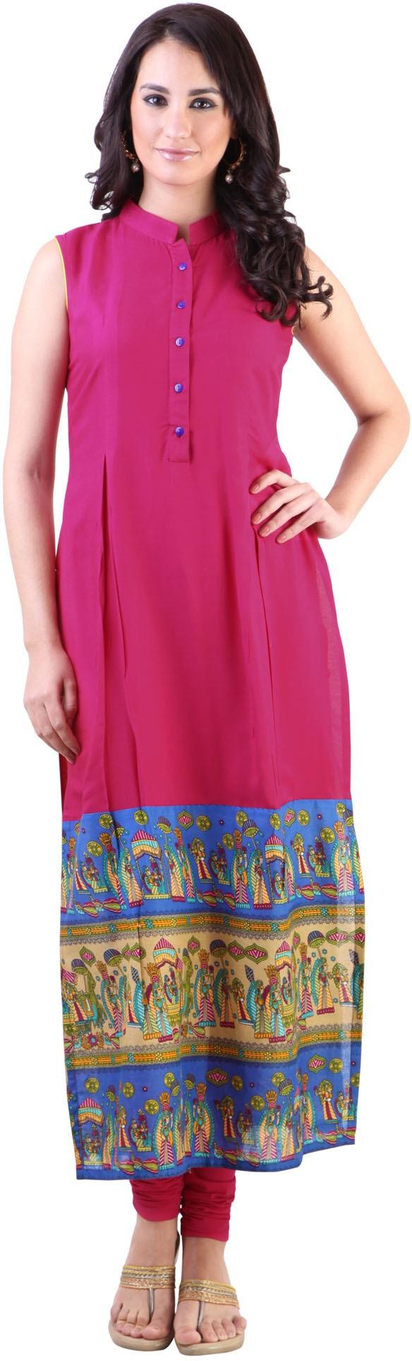 Libas Printed Womens Straight Kurta(Pink)