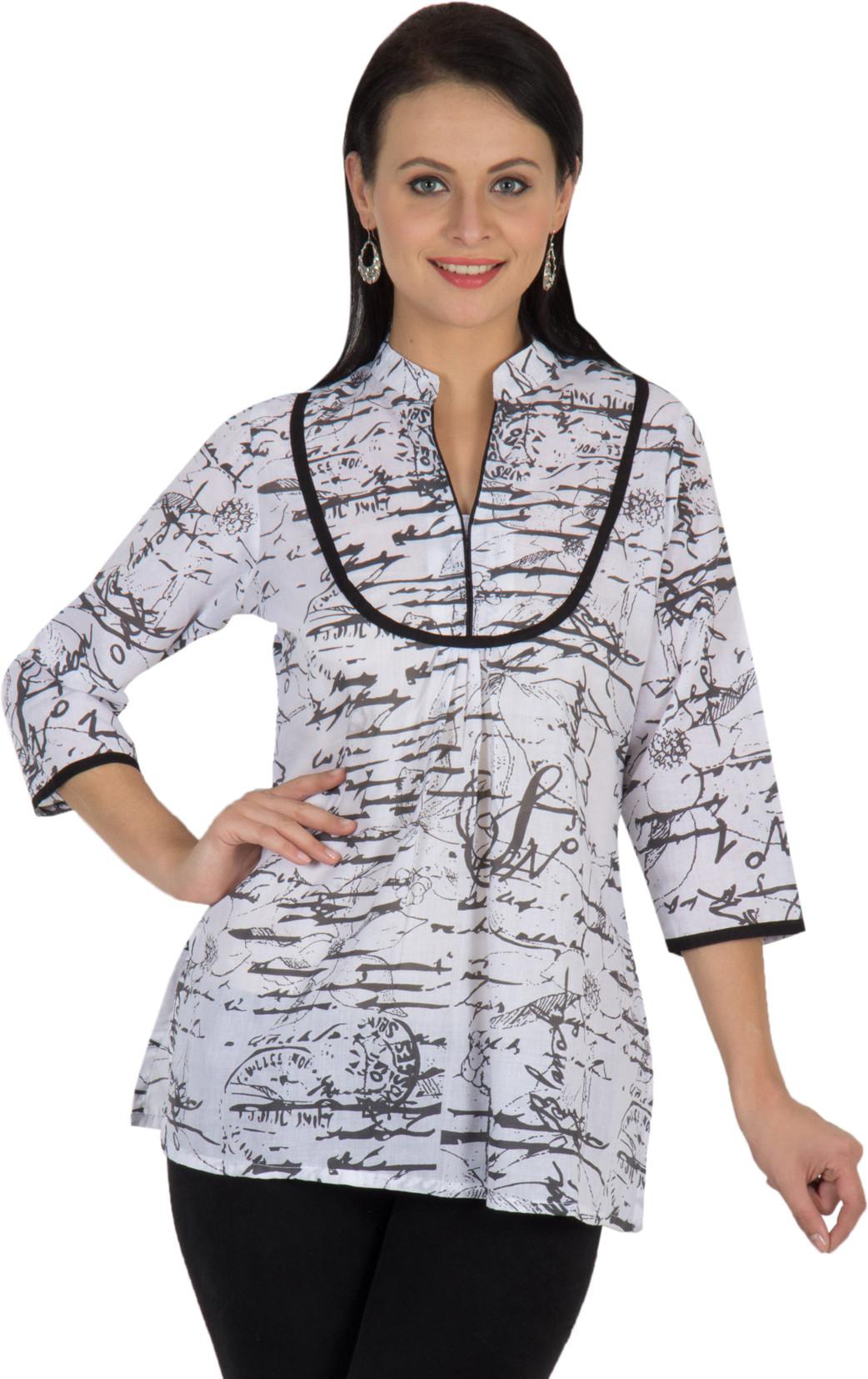 Sohniye Graphic Print Womens Straight Kurta(White, Black)