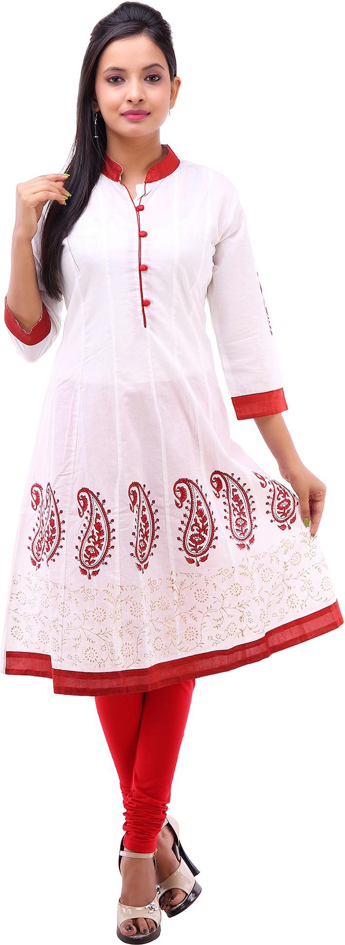 Kyaara Printed Womens Anarkali Kurta(White, Red)