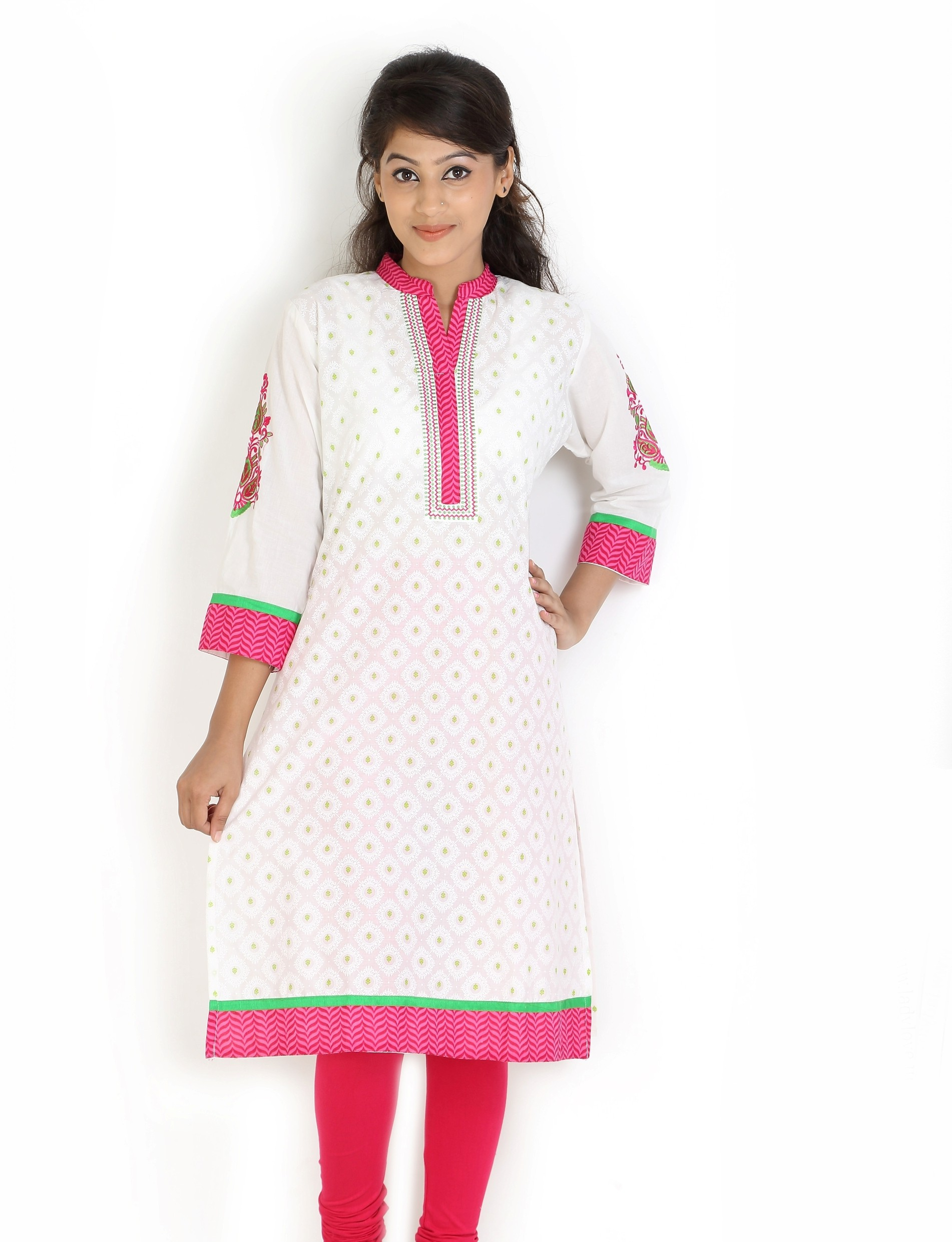 Angel TF Creations Self Design Womens A-line Kurta(White, Pink)