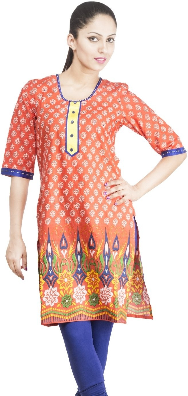 Rama Floral Print Womens Straight Kurta(Orange)