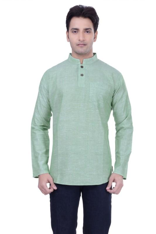 Rene Self Design Men's Straight Kurta(Green)