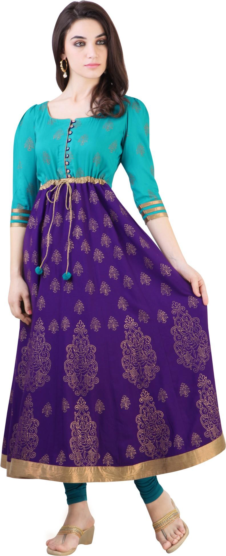 Libas Printed Womens Anarkali Kurta(Purple, Blue)