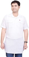 British Terminal Solid Mens Straight Kurta(White)