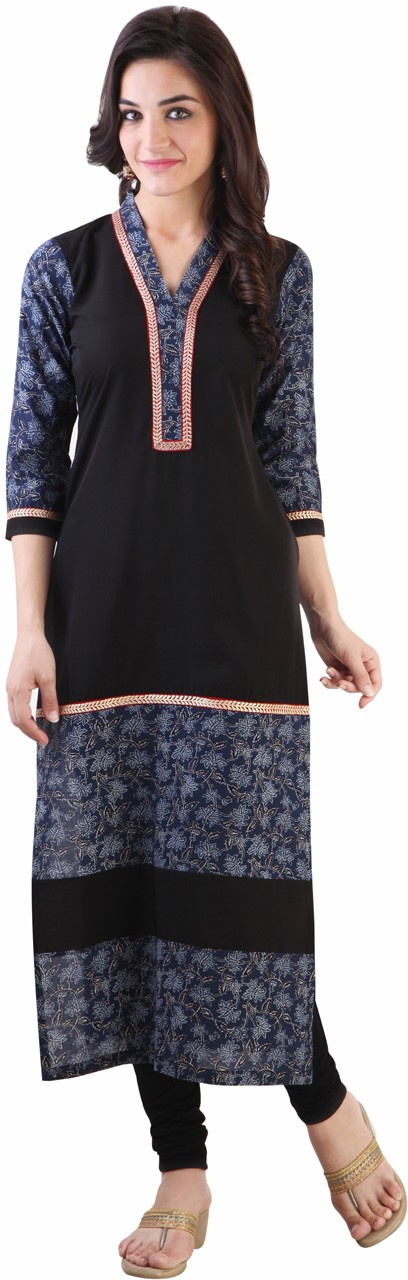 Libas Printed Womens Straight Kurta(Black, Blue)