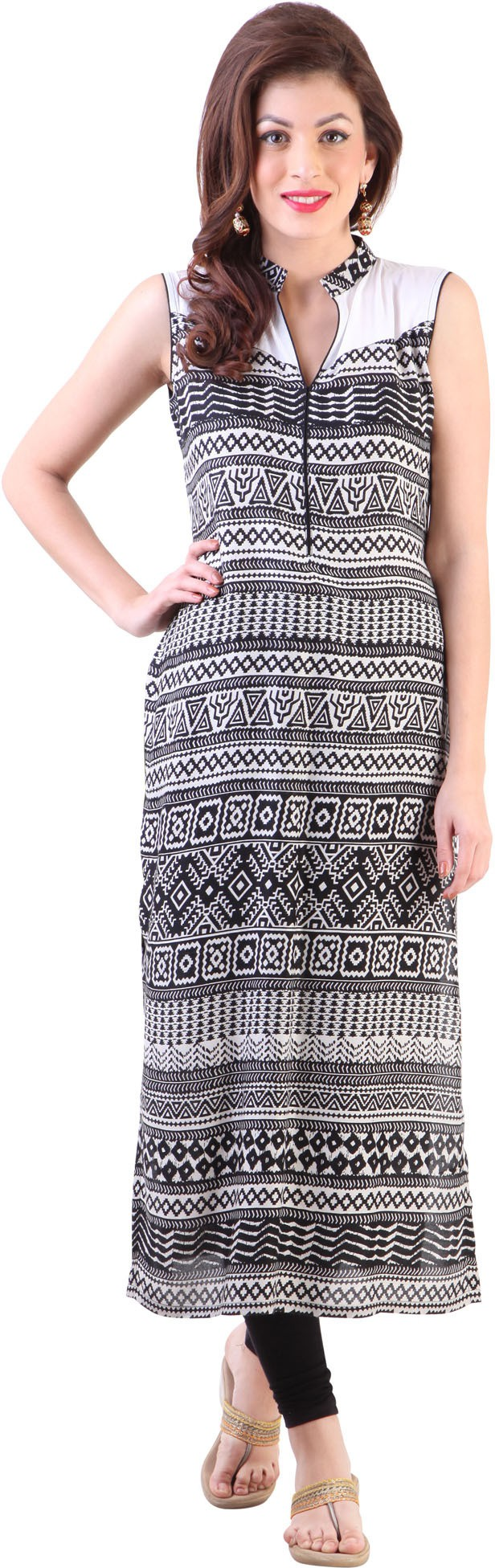 Libas Geometric Print Womens Straight Kurta(Black, White)