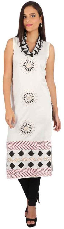 Peppertree Printed Womens Straight Kurta(White)