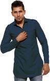 Ethiic Solid Men's Straight Kurta (Blue)