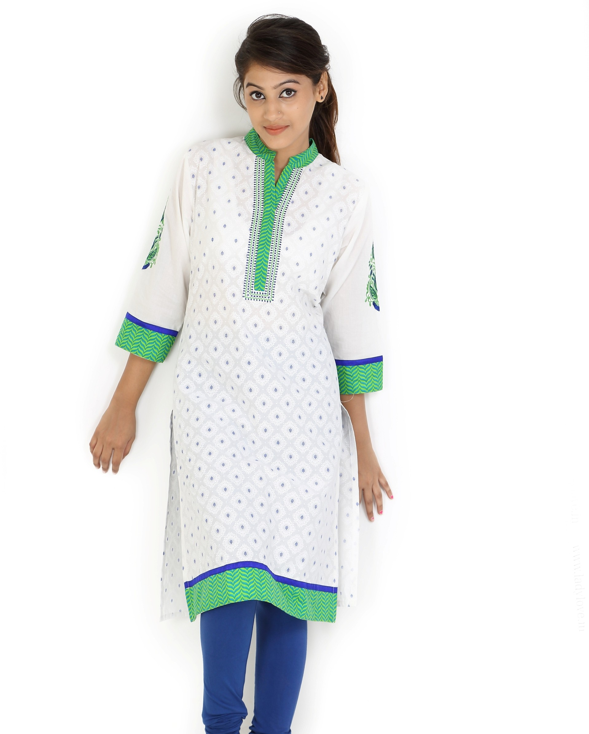 Angel TF Creations Self Design Womens A-line Kurta(White, Green)