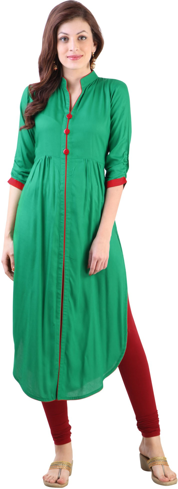 Libas Solid Womens A-line Kurta(Green)