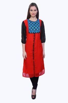 Kurtis By Menika Embroidered Women's Straight Kurta(Red, Blue)
