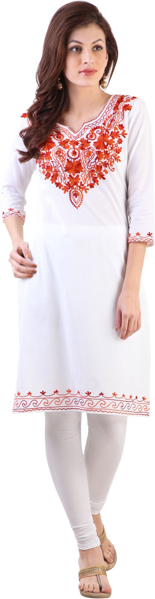 Libas Embroidered Womens Straight Kurta(White, Red)