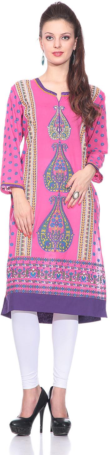 Sringam Printed Womens Straight Kurta(Pink)