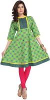 Enah Printed Womens Flared Kurta(Green)