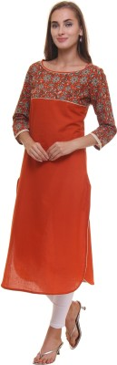 Gulmohar Jaipur Printed Women's Straight Kurta(Orange) at flipkart