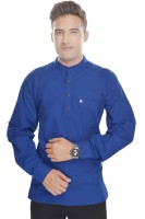 Kalrav Solid Mens Straight Kurta(Blue)