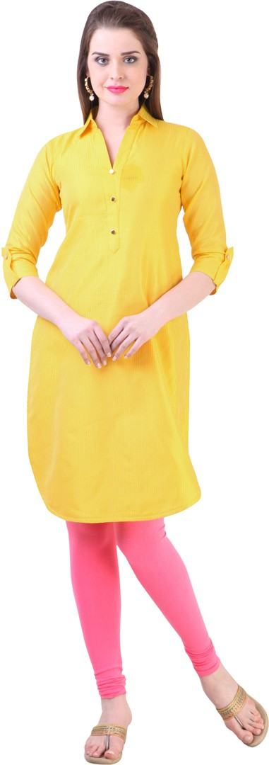 Libas Self Design Womens Straight Kurta(Yellow)