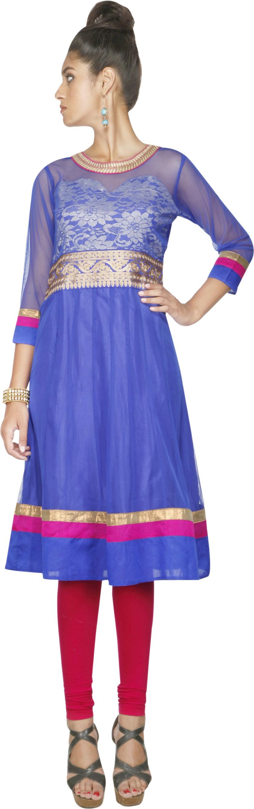 Libas Self Design Womens Anarkali Kurta(Blue)