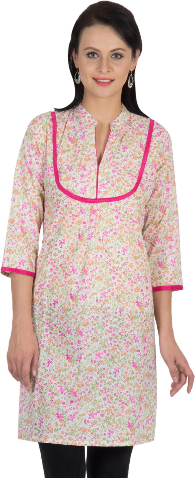 Sohniye Printed Womens Straight Kurta(Pink)