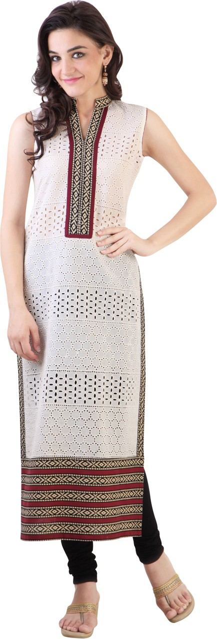 Libas Self Design Womens Straight Kurta(White)