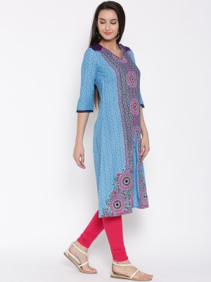 Aurelia Printed Women's A-line Kurta(Blue) at flipkart