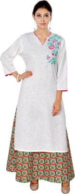 Saksh Design Studio Embroidered Women's Straight Kurta(White)