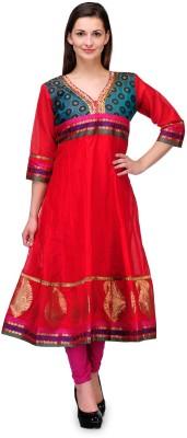 Plume Embellished Women's Anarkali Kurta