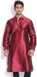 Vivyaan Solid Men's Pathani Kurta (Maroo...