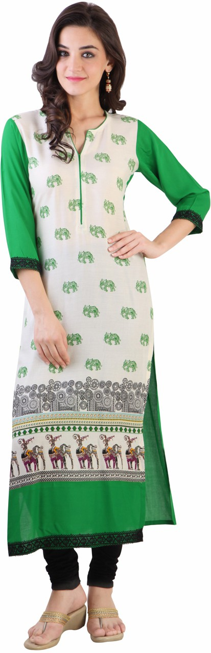 Libas Graphic Print Womens Straight Kurta(White, Green)