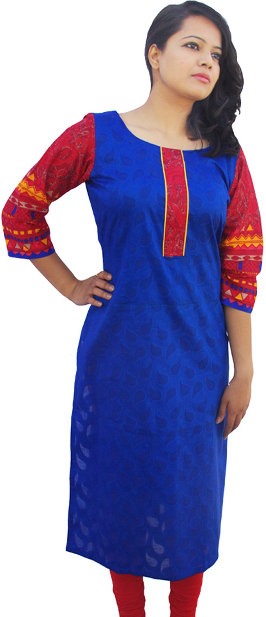 Rolling Ink Self Design Womens Straight Kurta(Blue)