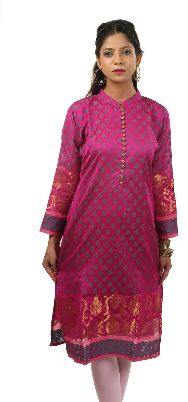 Belle Embroidered Womens Straight Kurta(Pink)