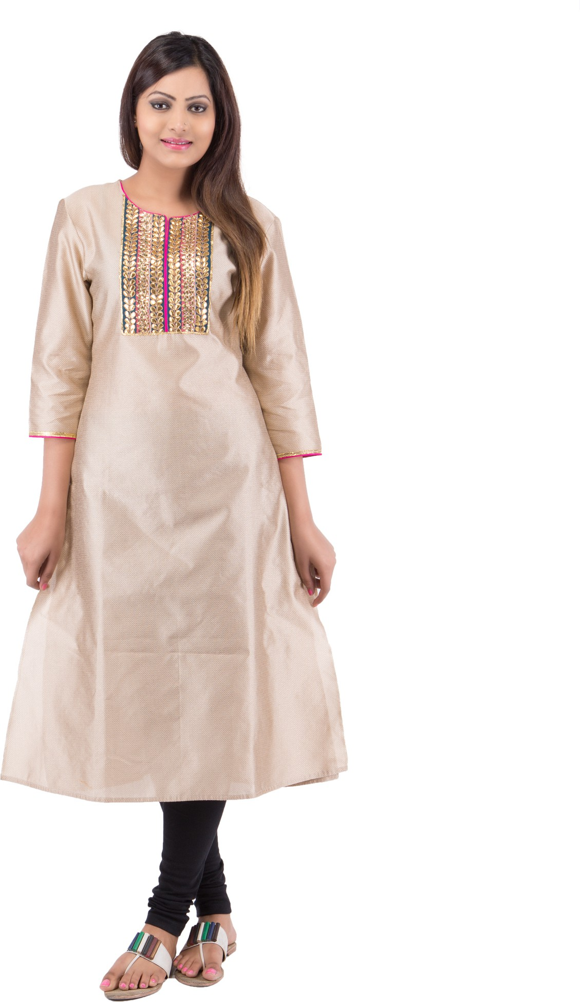 Future Perfect Solid, Self Design Womens Straight Kurta(Beige)