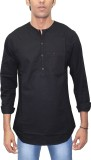 Southbay Solid Men's Straight Kurta (Bla...
