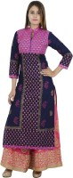 Zoeyams Printed Women's Anarkali Kurta(Blue)